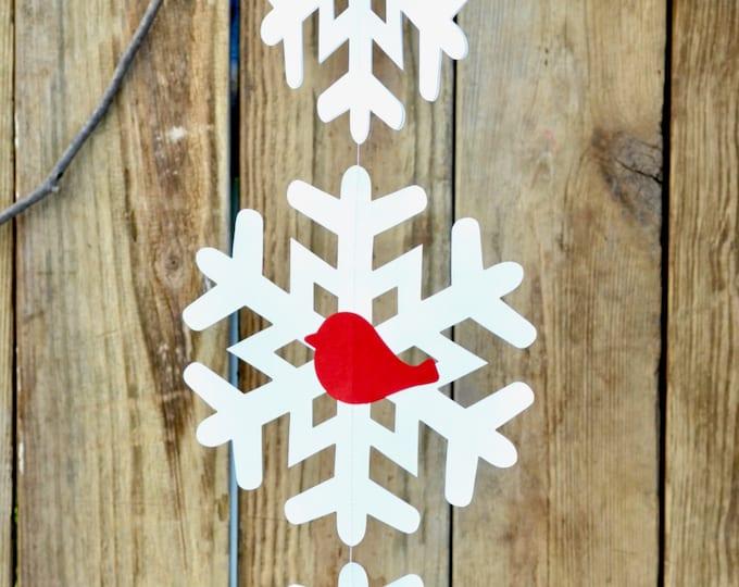 Hanging Snowflake and Red Bird Garland