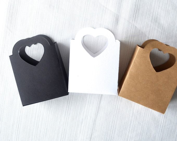 Neutral Heart Handled Gift Bags, Black, White, Kraft and custom colors