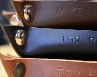Handcrafted Leather Valet Tray - Choose From Chocolate Brown, Black, or Caramel Leather. Free Personalization Available.
