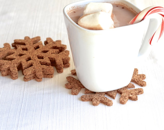 Snowflake Cork Coasters - set of 4
