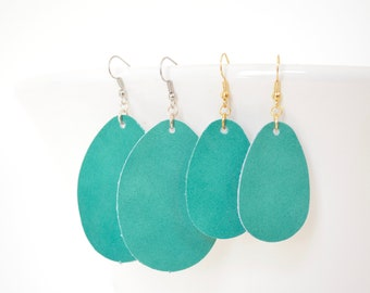 Teal Leather Teardrop Earrings - Choose from large or small. Nickel free hardware. Essential oil diffuser fashion for all occasions.