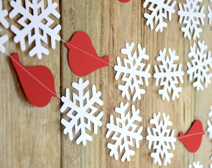 Redbird or Bluebird Snowflake Garland - sparkly winter snowflake banner with crimson red or blue birds. Custom colors available.