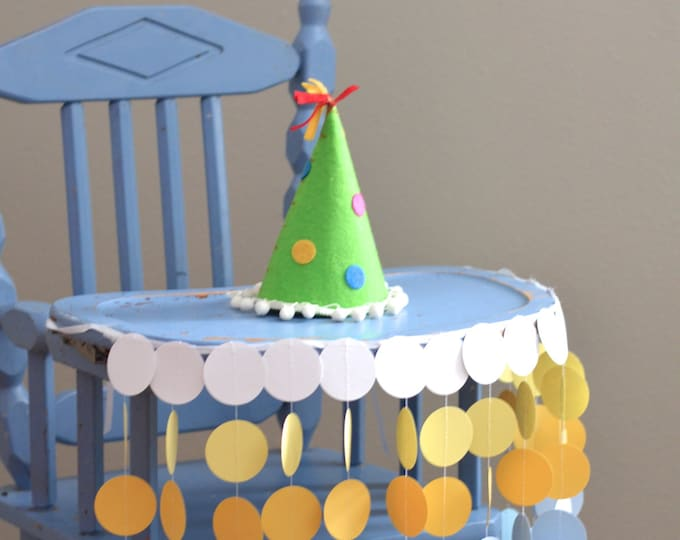 Highchair Birthday Banner - sunny circles in blues, yellows and white