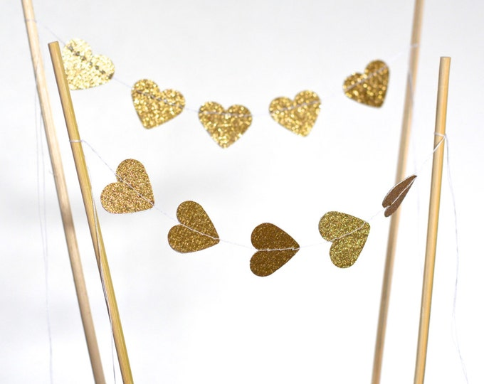 Gold or Silver Heart Cake Topper - glitter mini bunting dessert topper. Also available in red, blue, pink, purple, yellow, white, and more!