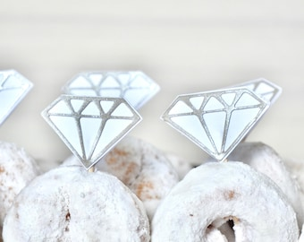 "Diamond ""Ring"" Toppers or Cake Garland - gem picks for cupcakes, doughnuts, cakes or other desserts!"
