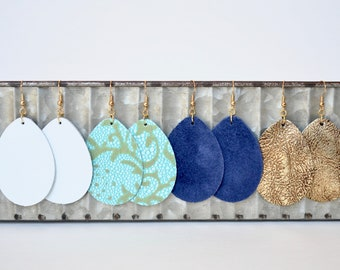 Large & Small Leather Teardrop Earrings, essential oil diffuser fashion earrings in white, aqua floral, navy and gold; nickel free hardware