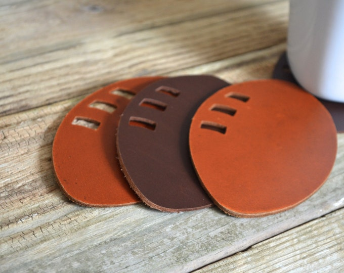 Leather Football Coasters - Set of 4 table top coasters. Choose from Black, Chocolate Brown, Caramel Brown, or a color combo!