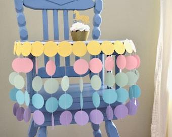 Pastel Rainbow Highchair Birthday Banner - unicorns and mermaids!