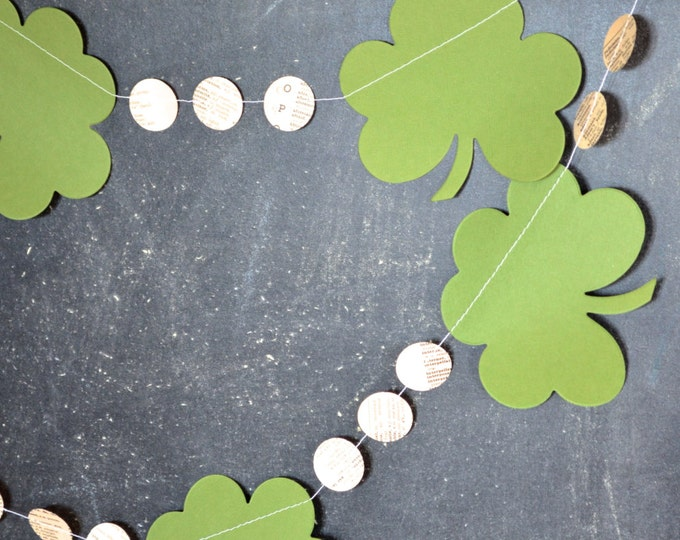 St. Patrick's Day Garland - clover shamrocks and vintage circles. 10ft Long
