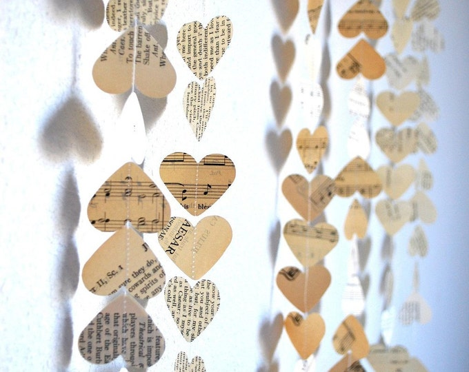 Romantic Vintage Hearts Garland - Created using a wonderful mix of vintage book and music paper. Custom variations available.