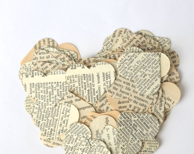 Vintage Book Paper Heart Confetti, medium size pieces, choose your quantity