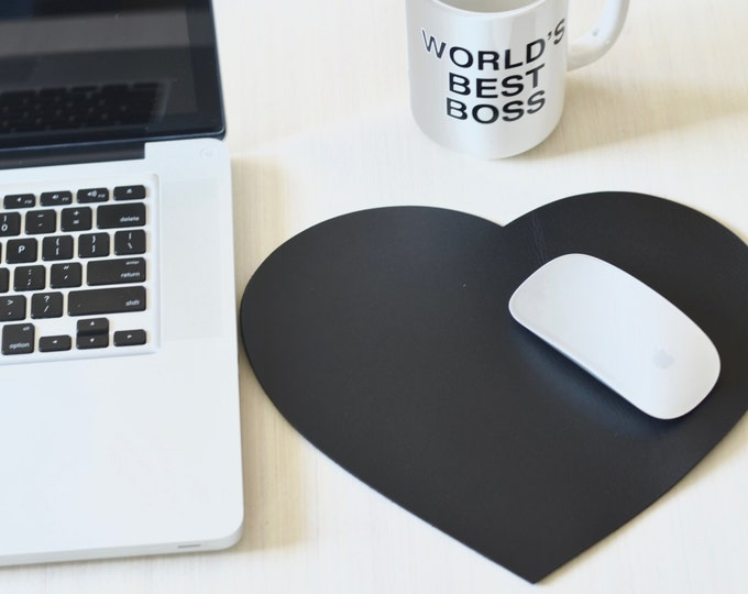 Leather Heart Mouse Pad - Choose From Black, Caramel Brown, or Chocolate Brown. Free personalization or monogram available.