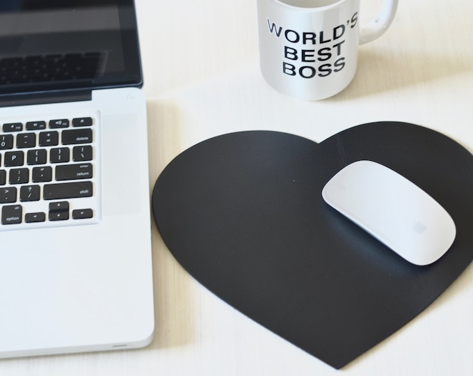 Leather Heart Mouse Pad - Choose From Black, Caramel Brown, or Chocolate Brown. Free personalization available.