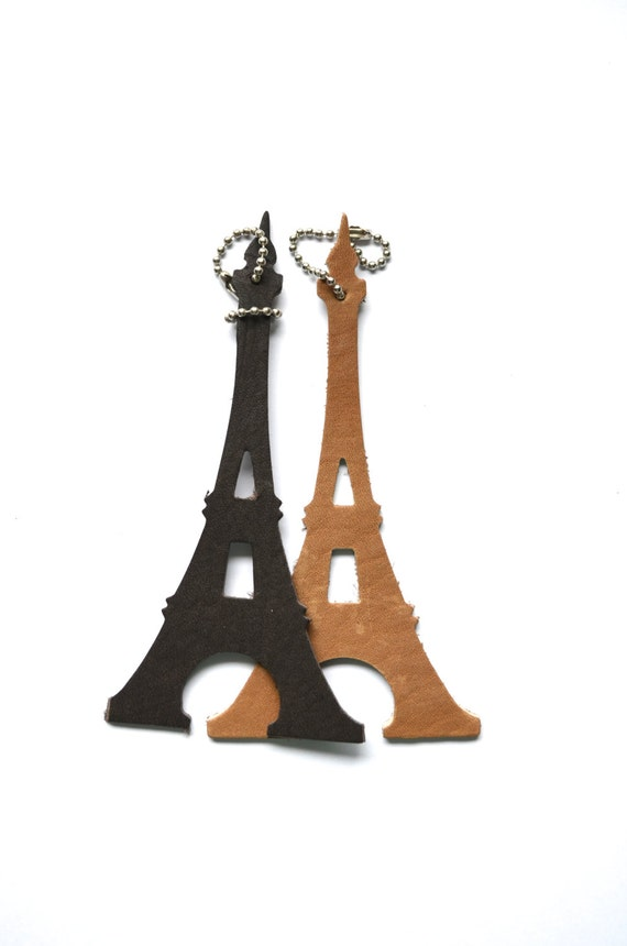 Eiffel Tower Keychain or Luggage Tag, black or brown full grain leather