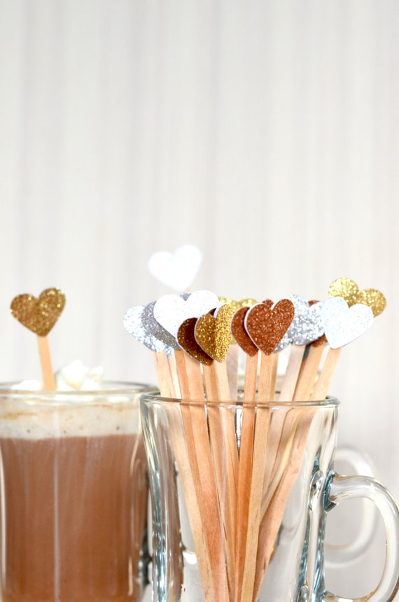 Glitter Heart Drink Stirrers - Swizzle sticks for hot or cold drinks