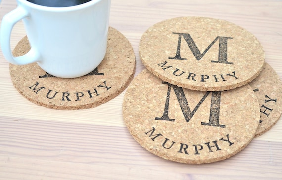 Personalized Round Cork Coasters - set of 4 circle coasters featuring a large monogram and the name or word of your choice!