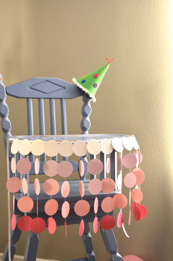 Pink Highchair Birthday Banner - sweet circles for the highchair in shades of pink and cream