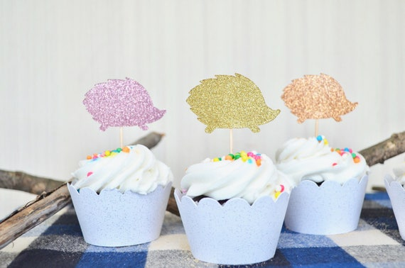 Glitter Hedgehog Cupcake Toppers in sets of 12, 24, 36 & more! Choose from gold, copper, silver, hot pink, light pink glitter, and more!