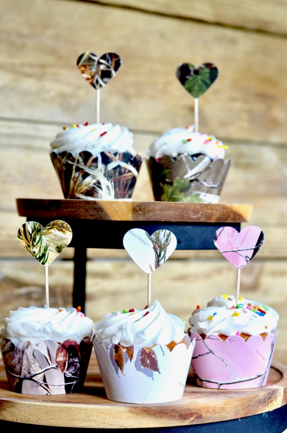 Camo Heart Cupcake Toppers - XtraGreen™, RealTree™, RealTree Pink™, and Max 4™