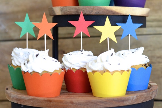 12 Rainbow colored Star Cupcake Picks, custom colors available