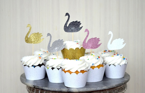 Swan Cupcake Toppers - In your choice of Gold Glitter | Silver Glitter | Baby Pink | Hot Pink | White Glitter | Red Glitter