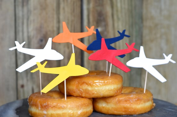 Classic Airplane Cupcake or Donut Toppers - Available in red, white, blue, orange, yellow, etc. or a color combo. Custom orders welcome!