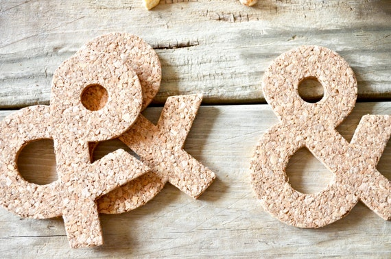 "Handmade Ampersand ""&"" Cork Coaster - Sets of 4, 8, 12, 15, 20, etc. Perfect for wedding, Christmas, or housewarming gifts!"