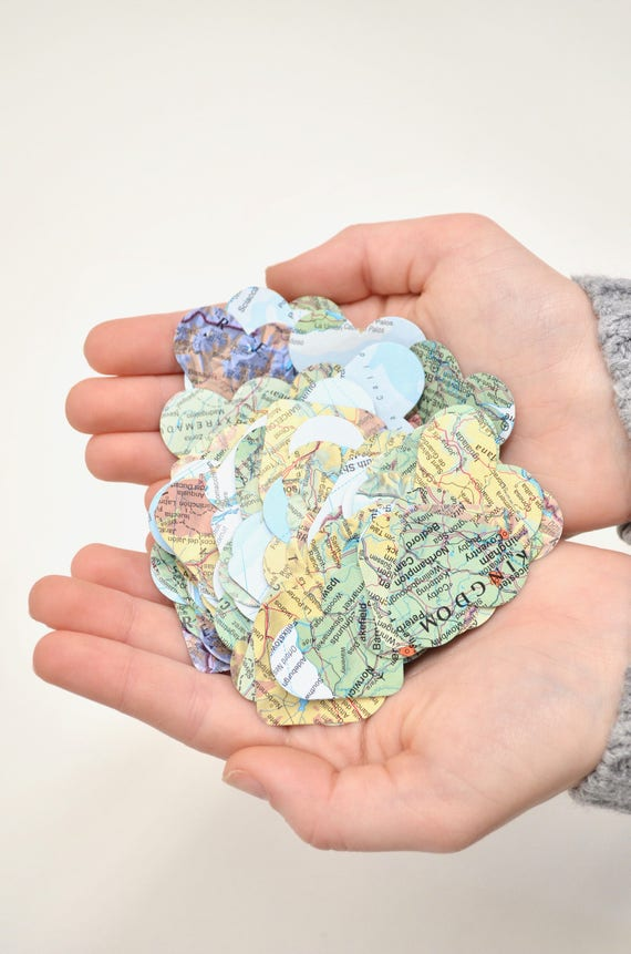 Vintage Map Heart Confetti