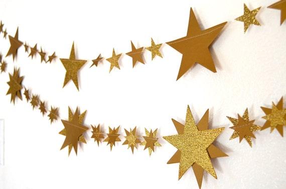 Glitter Gold Stars and Starburst Banner - 5 or 10 feet long
