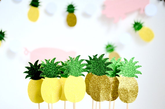 Glitter Pineapple Cupcake Toppers - 12, 24, 30, 50 or 100 toppers in yellow or gold with green glitter tops