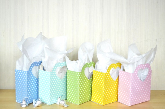 Polka Dot Heart Handled Gift Bag - Choose from a rainbow of colors including Red, Pink, Yellow, Light Green, Light Blue, Dark Blue & Purple!