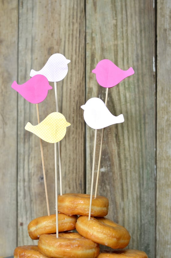 Sweet Bird Dessert Picks, Wands or Pie Toppers, custom colors available