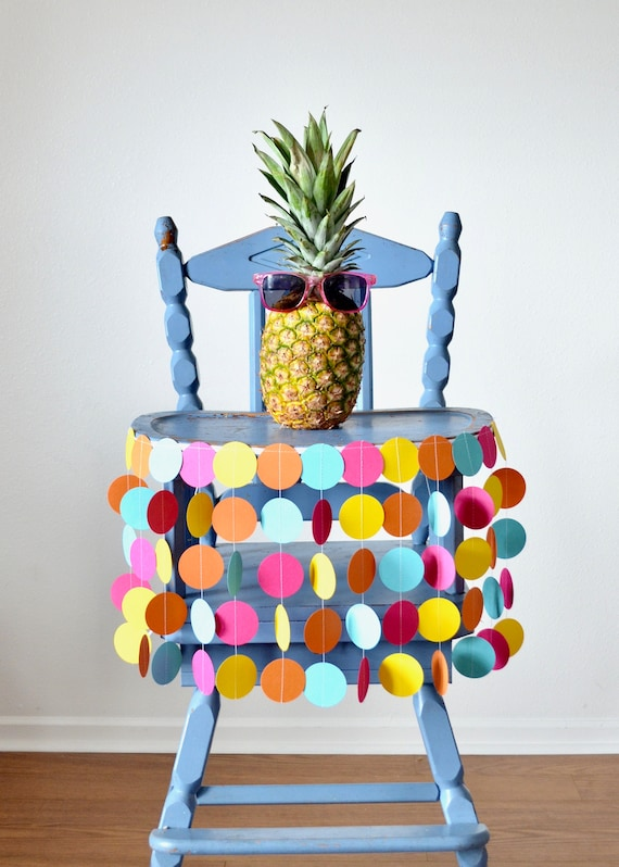 Tropical Colored Highchair Birthday Banner - polka dot rainbow in Hot Pink, Orange, Yellow and Aqua Blue