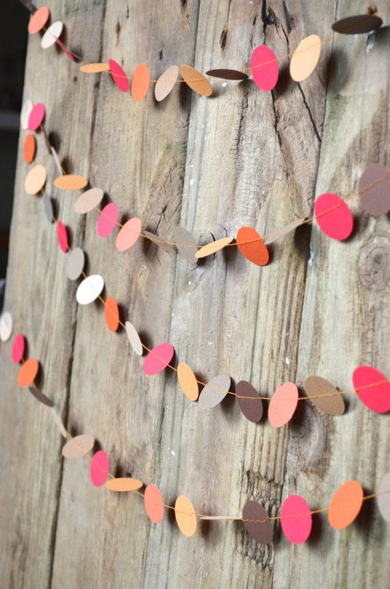 Thanksgiving Paper Circles Garland - Autumn orange, brown, kraft, red and beige
