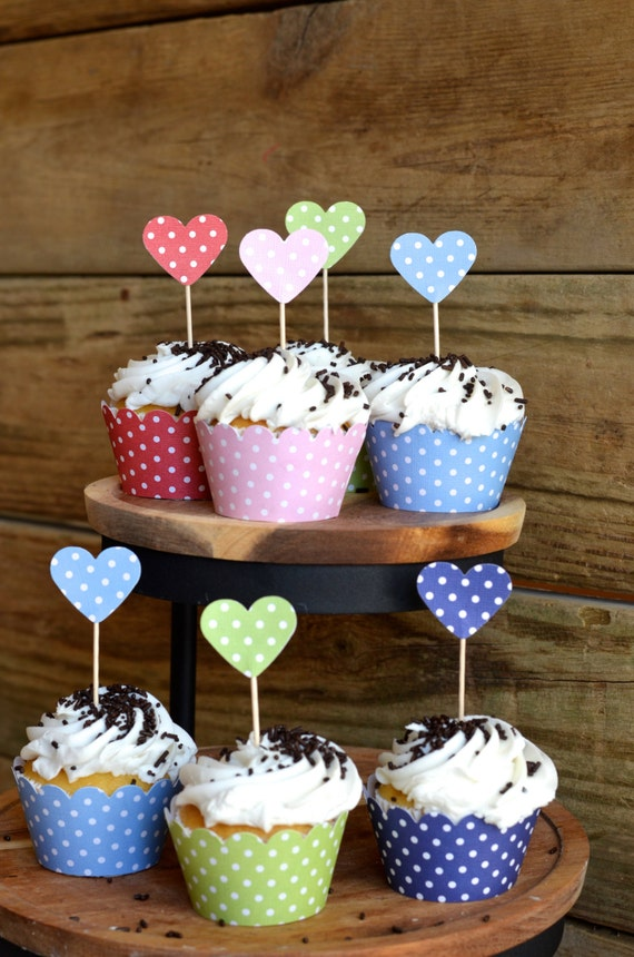 Polka Dot Heart Cupcake Picks, 12 toppers in Red, Pink, Green, Light Blue or Royal Blue