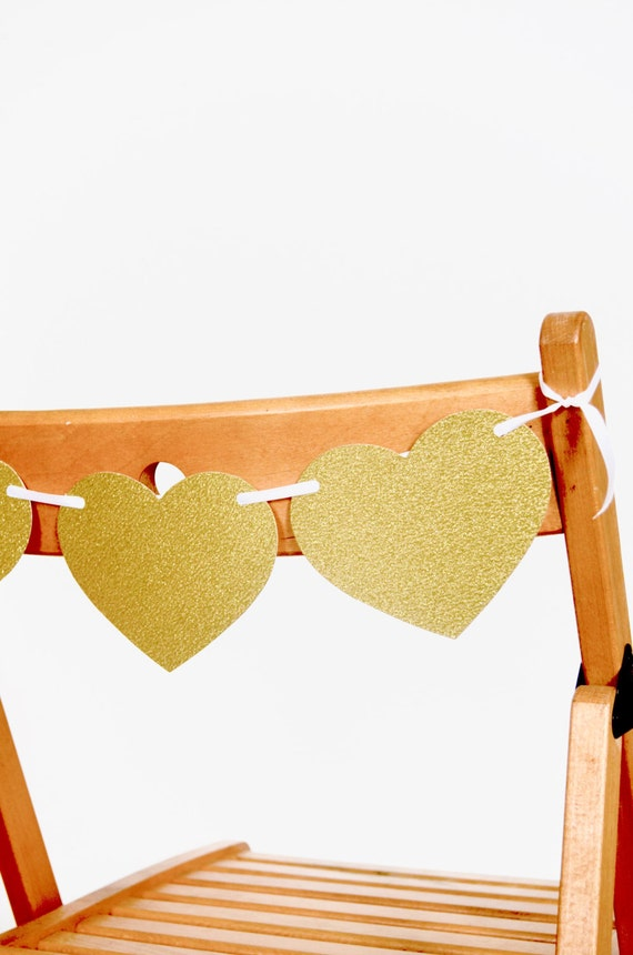 Heart Chair Banner - gold glitter and other colors