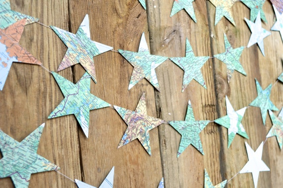 Extra Large Vintage Map and Atlas Stars Garland - choose your length!