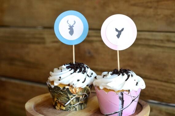 Is It A Buck or Doe? Gender Reveal Cupcake Picks