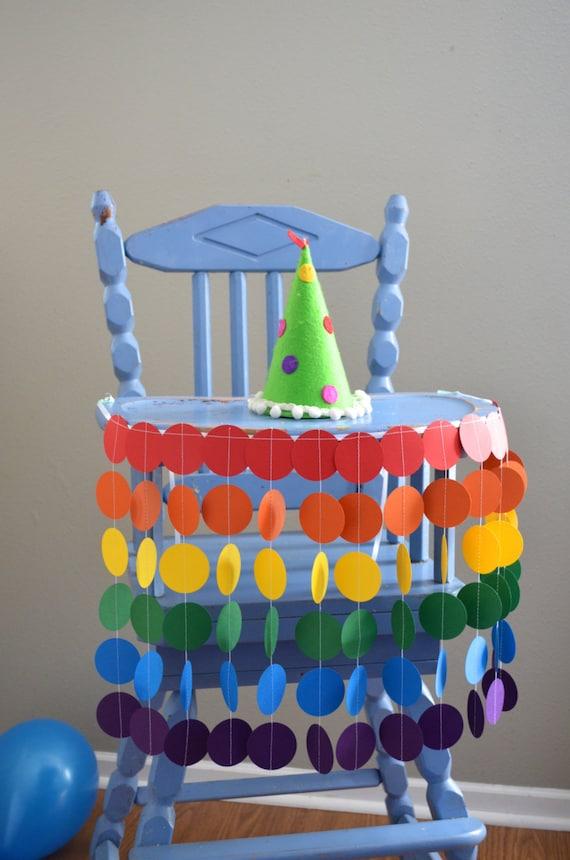 Rainbow Highchair Birthday Banner - vibrant colors for a celebration