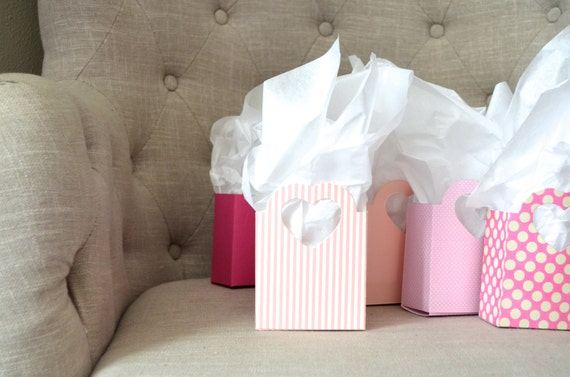 Pink Heart Handled Gift Bags, light, medium and hot pink and custom colors