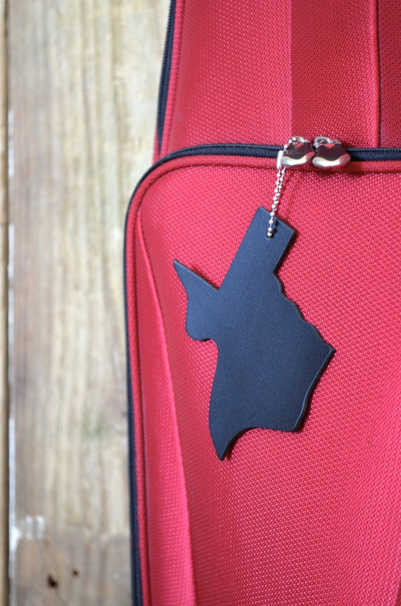 Texas Silhouette Luggage Tag - choose from black or brown