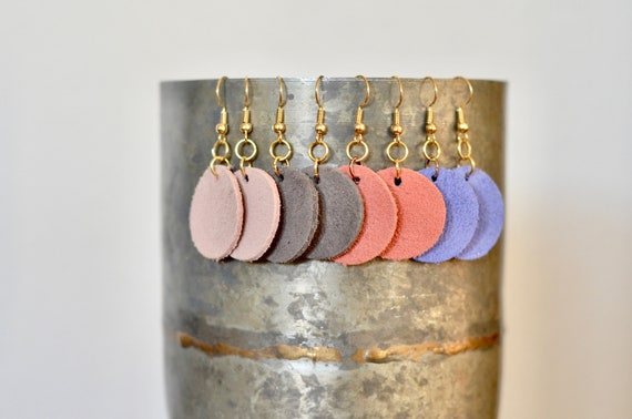 Small Leather Circle Earrings, genuine sueded leather essential oil diffuser earrings in blush, coral, grey & periwinkle, gold-look wires