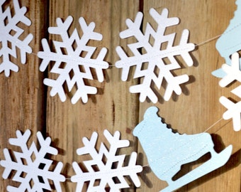 Ice Skates and Snowflakes Garland - Choose From Blue or Pink Ice Skates