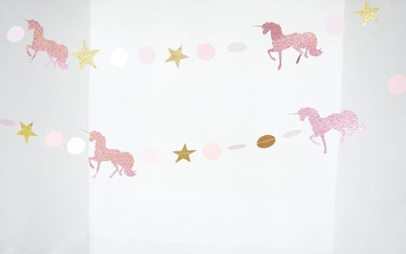 Glitter Unicorn Garland - magical prancing unicorns and stars in pink glitter, gold glitter, white and blush