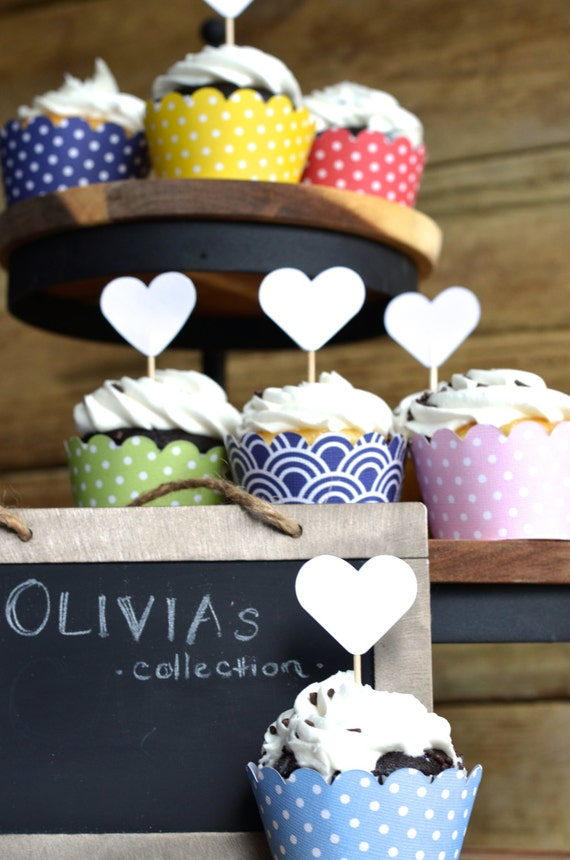 Polka Dot Cupcake Wrappers, choose from Pink, Yellow, Light Blue, Navy Blue, Red, Light Green, or Blue Wave!