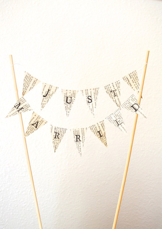 JUST MARRIED Hand Stamped Wedding Cake Topper Garland - Choose from vintage book, map, or kraft brown paper. Custom colors available.