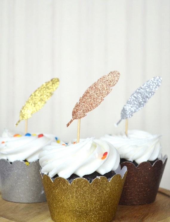 Glitter Feather Cupcake Toppers - choose from Gold, Copper, Silver, Bronze, Blue, White, Yellow, Purple, and more!