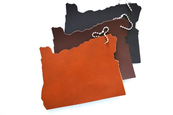 Oregon Silhouette Luggage Tag - choose from black or brown or add personalization!