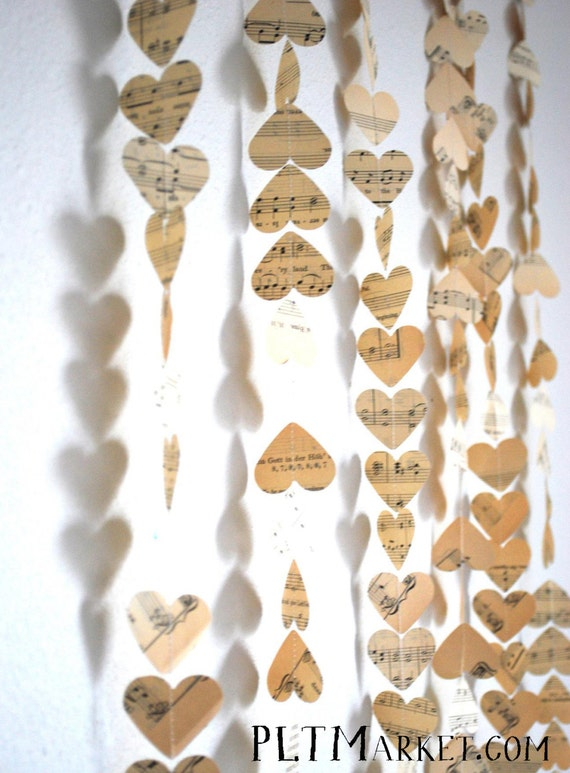 Vintage Music Hearts Garland, made with genuine vintage music paper - choose from 10, 15, 20 or 30 foot lengths!