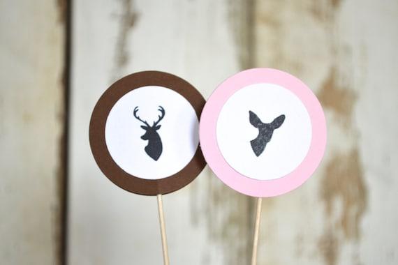Is It A Buck or Doe? Pink and Brown Gender Reveal Cupcake Picks